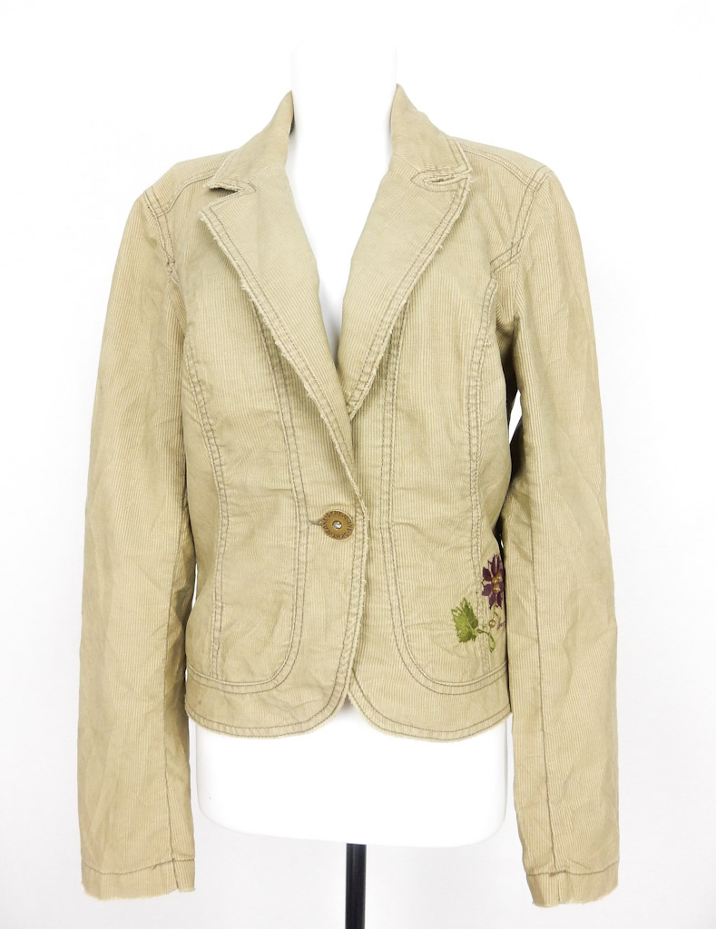 DKNY Jeans/ Cream Embroidered Cord Jacket