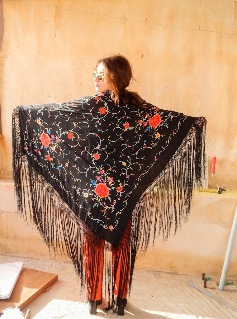 ca704a3c0 Embroidered Shawl / Large Scarf Vintage Red Roses Wrap - The Magic Bus
