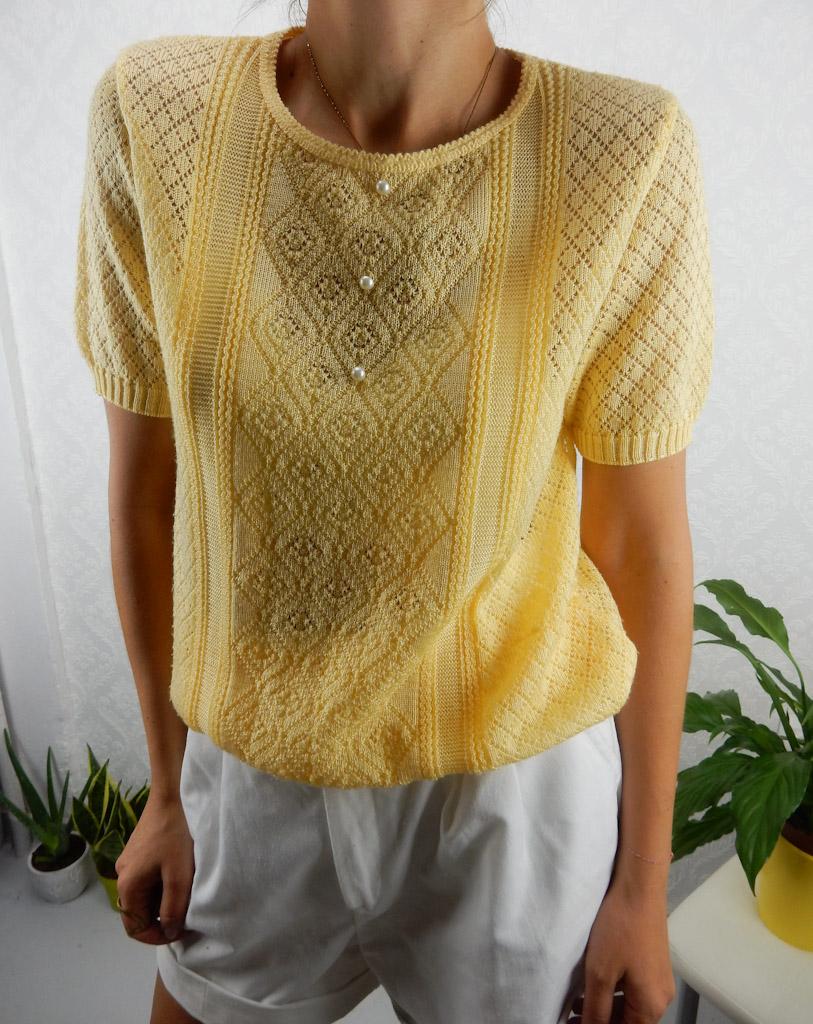 crochet-knit-top-yellow-vintage