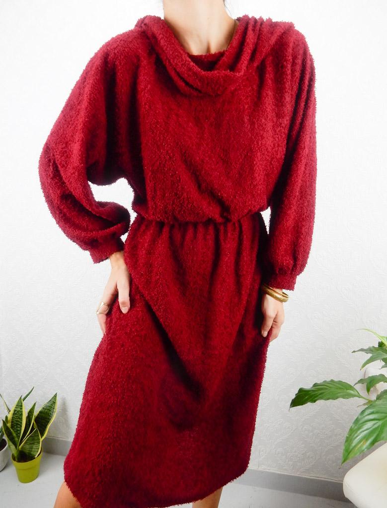 vintage-red-dress-soft-knit-oversized-4