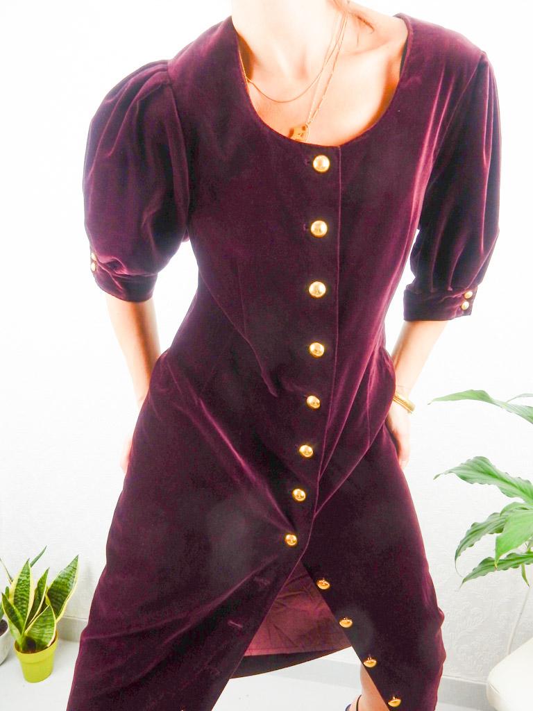 vintage-velvet-burgundy-gold-button-down-dress-12